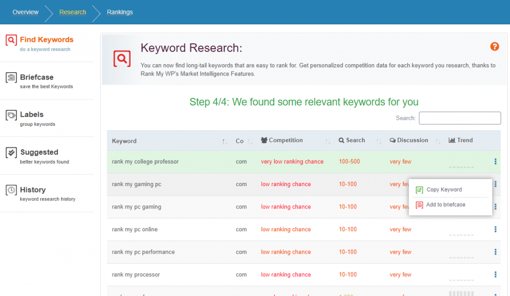 Keyword Research Results